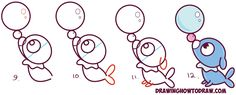 Learn How to Draw Cute Kawaii Chibi Popplio from Pokemon Sun and Moon in Simple Steps Drawing Lesson for Kids