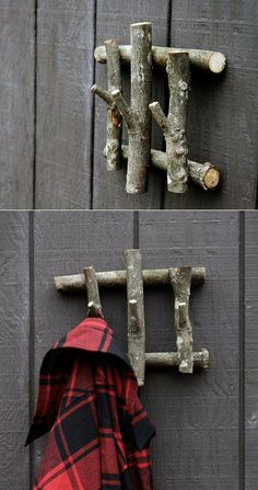 diy branch coat rack is a cool way of recycling natural objects for stunning decor in the house it s also really useful as furniture design
