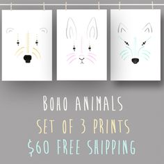 3 beautiful watercolour prints of a wolf, bunny & polar bear.  Perfect for nursery or child's room. Artworks are printed onto Archival Matte paper.  Postage FREE within Australia!  : : : w h a t ' s i n c l u d e d : : :  : : : D E T A I L S : : :  3 x Paper size A4 (21 x 29.7cm or approx. 8 x 11 inches) Polar Bear, Wolf & Bunny Printed on Archival Matte Paper 300gsm paper with a white border Signed by artist  : : : N O T E S: : :   Colors may vary between screens and printed ...