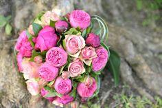 Bouquet de mariée, roses et pivoines