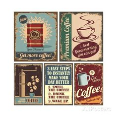 Vintage Coffee Posters And Metal Signs Pôsteres por Lukeruk na AllPosters.com.br