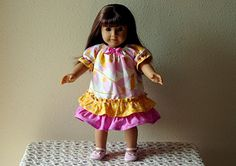 18 American Girl Doll Peasant Dress, Pink & Yellow, Matches Girls Dresses, Just like Me,  READY to SHIP via Etsy
