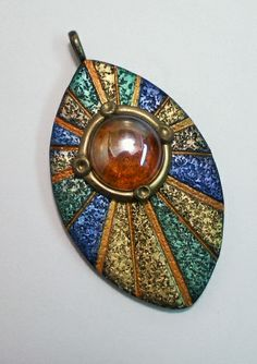 polymer clay focal bead pendant green blue gold glass gem by Sweet2Spicy, via Flickr