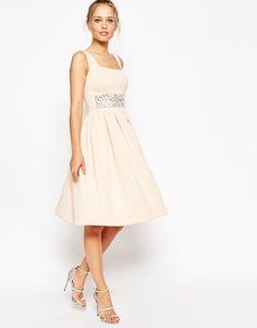 Andy likes. Image 1 ofASOS Scuba Debutante Midi Dress With Embellished Waist