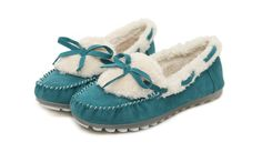 Wholesale Fashionable Faux Fur Women's Flat Shoes With Stitching and Bowknot Design (BLUE,39), Flats - Rosewholesale.com