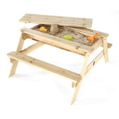 A delightful garden Picnic Table that doubles as a sand table. Enjoy safe sand play as four children easily play together around this raised sand box. When sand play is finished, simply add the lid and transform the sand table into a traditional garden pi Table Camping, Wooden Picnic Tables, Kids Picnic Table, Play Table, Sand Play, Kids Sand, Sand And Water Table, Sandbox