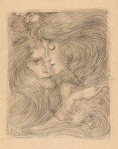 Two Women - Jan Toorop ca.1897 Dutch 1858-1928 Potlood op papier 46,5 x 32 cm