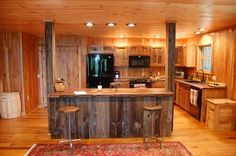 Custom Made Reclaimed Wood Rustic Kitchen Cabinets by Sandy Creek Woodworks | CustomMade.com