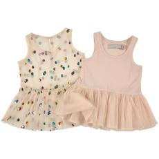 Stella McCartney Kids - 2 in 1 spotted tulle and cotton jersey dress - Pastel pink - 108223