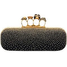 Alexander Mcqueen Knuckle Studded Leather Box Clutch Bag (35.165 ARS) ❤ liked on Polyvore featuring bags, handbags, clutches, black, skull box clutch, studded handbags, studded leather purse, studded leather handbags and alexander mcqueen clutches