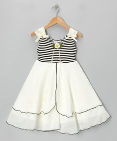 Take a look at the Black & Ivory Daisy A-Line Dress - Toddler & Girls on #zulily today!