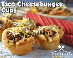 Taco Cheeseburger Cups Cheeseburger Cups, Burger Night, Good Food, Yummy Food, Taco Tuesday, Tacos, Meal Planning, Meals, Dinners