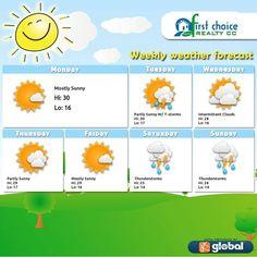 Johannesburg from Monday, 12 January till Sunday, 18 January Friday Saturday Sunday, Monday Tuesday Wednesday, Weekly Weather Forecast, Mostly Sunny, Beauty Studio, Thunderstorms, Timeline Photos, January, Fun