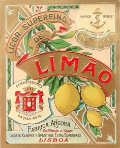 family crest, curved text, asymmetrical layout, lovely lemon illustration, lots of details Posters Vintage, Vintage Labels, Vintage Ephemera, Vintage Signs, Vintage Ads, Vintage Prints, Vintage Images, Vintage Packaging, Portugal