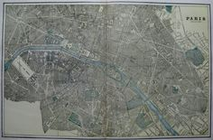 This is an original, not reproduction, vintage map of Paris, France which was carefully removed from an atlas. It measures approximately 12 by 18.5