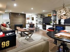 Sports Lounge - Best of Basement Design: 13 Stylish Underground Spaces on HGTV.  Hard to believe this is a basement...really light & bright!