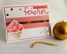 Die neuen Cupcakes von Stampin Up! Lecker Geburtstagskarte in Flamingorot, zu finden auf www.papierkreationen.net!