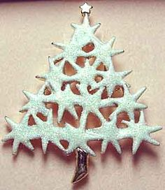 """Kirk's Folly Tree - Tree of Stars - done in a white enamel """"sugared"""" with aurora borealis glitter. 2 1/8"""" x 1 3/4"""". Made in USA. Z"""