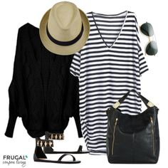 Frugal Fashion Friday Black & White Striped Dress Outfit. Batwing Dress with Cocoon Cardigan. Straw Fedora and Aviators. Polyvore Style. Pin to Pinterest