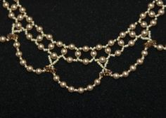 Swarovski pearl right angle weave necklace with bicone crystals