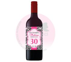 Damask Wine Bottle Label  Digital File by ADTRCustomDesigns