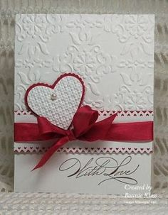 Stamp' Up! ... handmade Valentine from Stamping with Klass: Versatile Valentine in red and white with embossing folder texture ...