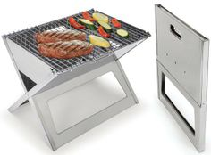 "Fold Flat Grill-    This is the grill that folds flat for unmatched portability. Less than 1"" thick when folded, it unfolds to 17 3/4"" L x 13"" W x 13"" H, ideal for convenient charcoal or hardwood grilling at picnics, beaches, or homes."