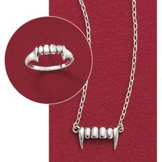 Fangs Ring Bite Sized Vampires, lycanthropes—everyone's raving about this toothsome selection, cast in a ring of gleaming sterling silver. Whole sizes 5-9.