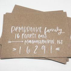 Modern Calligraphy Envelopes. White on Kraft with brush calligraphy. <3