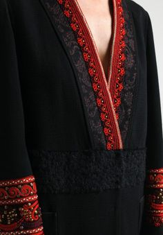 Etro Embroidered & Beaded Jacket in Black Salwar Neck Designs, Neck Designs For Suits, Kurta Neck Design, Neckline Designs, Kurta Designs Women, Dress Neck Designs, Blouse Designs, Embroidery On Kurtis, Kurti Embroidery Design