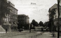Milano - Porta Monforte vista da viale Majno, 1900 circa