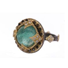 Armenta Old World 18K Yellow #Gold Oxidized Sterling Silver Green #Turquoise & #Diamond #Ring