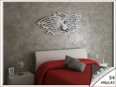 #MyLAS Welcome to Alessandra's #home! #bedroom #design #homeinspiration #interiors http://www.laserartstyle.it/home/gallery/my-las/ SACRED WALL SCULPTURES | CODE: SI-160 | SIZE: 165x73 cm | COLOUR: white and silver application