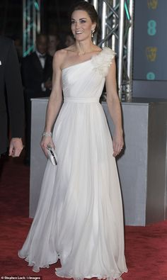The Duchess of Cambridge shone in a white, one-shouldered Alexander McQueen dress at the British Academy Film Awards in London Alexander Mcqueen Dresses, British Academy Film Awards, Stunning Dresses, Royal Fashion, Duchess Of Cambridge, Kate Middleton, Diana, One Shoulder Wedding Dress, White Dress