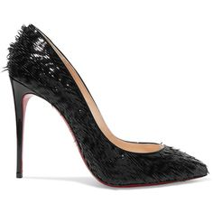 Christian Louboutin Pigalle Follies 100 fringed patent-leather pumps (€595) ❤ liked on Polyvore featuring shoes, pumps, zapatos, black high heel pumps, black shoes, black patent leather pumps, christian louboutin shoes and pointed toe pumps