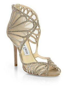 JIMMY CHOO Kole Crystallized Suede & Mesh Sandals