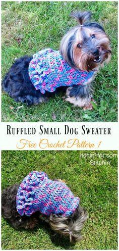 Ruffled Small Dog Sweater Crochet Free Pattern - #Dog; #Sweater; #Crochet; Free Patterns