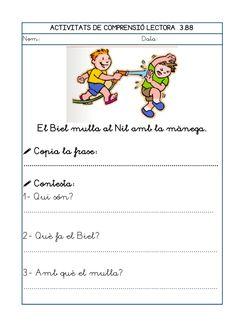 Dori dos 1112_mt005_r1_comprensio_lectora_3 Valencia, Exercise, School, Children, Writing, Spanish Classroom Activities, Reading Workshop, Speech And Language, Ejercicio