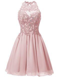 63ca9cf5b15f Shop Dresstells® Short Chiffon Halter Neck Prom Dress With Appliques  Homecoming Dress.