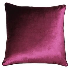 Luxe Cranberry Velvet Cushion. Defined by its bold velvet design, this cranberry coloured Luxe cushion from Riva Paoletti features soft faux velvet piping and jewel tone colour scheme. Combined with the statement pattern, its sophisticated hues conjure a modern appeal. Its overall arrangement will add texture and depth to any room.    55cm x 55cm  100% polyester  See care instructions for cleaning information Plain Cushions, Velvet Cushions, Fairmont Park, Jewel Tone Colors, Cranberry Color, Warm Colors, Colours, Unique Colors, Soft Furnishings