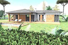 <div><b>Maison moderne de plein pied de type 5</b></div><div>3 chambres - 1 bureau - garage 1 box - terrasse couverte</div><div>Surface Habitable: 136m² / Surface annexe: 68m²</div> Surface Habitable, Living Area, Terrace, House Plans, Shed, Construction, Outdoor Structures, How To Plan, Architecture