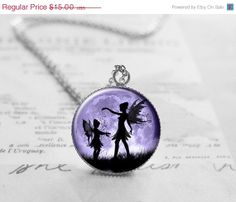 Fairy Necklace, Fairy Moon Pendant, Cyber Monday Sale, Fairies Charm, Fairytale Jewelry, Black Friday Sale, Sisters Jewelry N084 on Etsy, $11.25