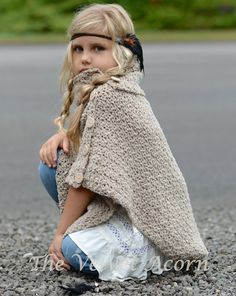CROCHET PATTERN-The Timberlyn Poncho toddler child teen and