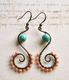Turquoise Peach Coral Swirl Earrings, Hammered Copper Wire Wrapped Earrings, Boho Turquoise Earrings. $27.00, via Etsy.