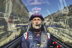 Red Bull pilot Péter Besenyei  flies up the Corinth Canal