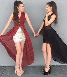 Twin Outfits, Matching Outfits, Outfits For Teens, Classy Outfits, Trendy Outfits, Cool Outfits, Girl Fashion, Fashion Dresses, Womens Fashion