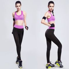 Sports & Entertainment Running Women Sport Set Fitness Gym Running Set Yoga Bra+pants Set Quick-drying Compression Trousers Sets Leggings Mesh Layered Top