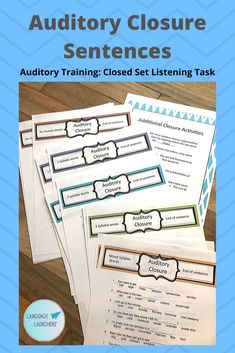 Closed set listening practice for auditory training with students who have hearing impairment. Great for cochlear implant rehabilitation. Closure sentences are multiple choice and can also be used for literacy practice. School Age Activities, Preschool Special Education, Speech Activities, Speech Language Pathology, Speech And Language, Auditory Learning, Hearing Impairment, Auditory Processing, English Language Learners