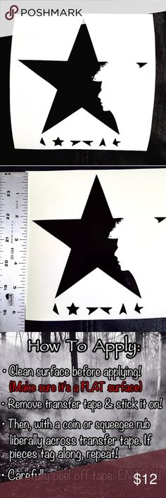 """David Bowie """"Black Star"""" Vinyl Decal Sticker •Comment color (see 2nd image to choose from) CUSTOM SIZES ONLY ON ORDERS OF $8+ *Let me know approx. width x height*  •Bowie's """"Black Star"""" last album cover vinyl decal sticker. Works great for cars, windows, laptops, iPads, iPhones, skateboards, Bedroom Wall, fridge, binder, notebook, etc.  ✅Guaranteed to be water proof, heat resistance & UV fade resistance.  •Homemade by me!  •Ziggy Stardust/Classic Rock…"""