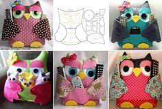 How adorable are these owl pillows ! Don't you want to make one or two or ten for your home or car ?  Free template & video--> http://wonderfuldiy.com/wonderful-diy-cute-fabric-owl-pillow-with-template/ #diy #crafts
